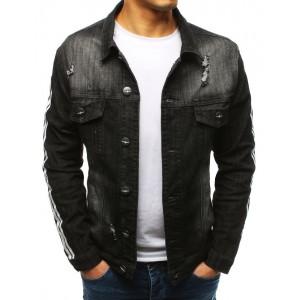 Moderní pánská černá riflová bunda s trendy pásy na rukávech
