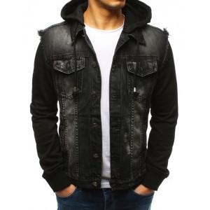 Pánská černá riflová bunda na knoflíky s odnímatelnou kapucí