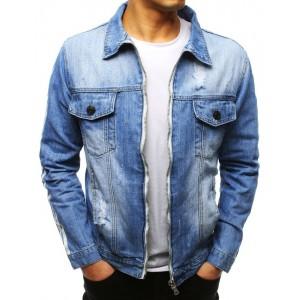 Originální světle modrá pánská riflová bunda na zip s pásy na rukávech