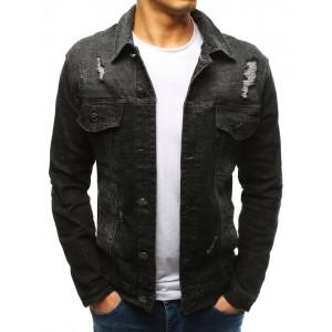 Pánská šedě černá riflová krátká bunda s trendy designem