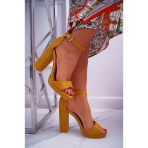 Dámské sandály na vysokém podpatku ve žluté barvě