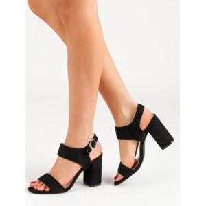 Černé dámské semišové sandály na podpatku módního designu