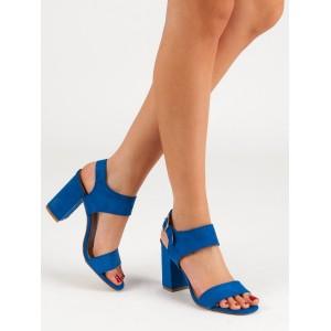 Krásné dámské modré sandály se zapínáním na přezku a podpatku