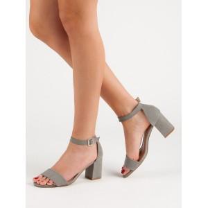 Dámské letní šedé sandály na hrubém podpatku a řemínkem
