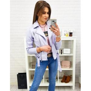 Krásná dámská světle fialová jarní bunda s páskem a zipem