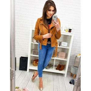 Moderní dámské jarní bunda na zip v krásné hnědo žluté podzimní barvě