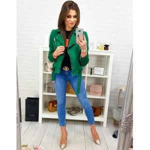 Stylová jarní bunda se zapínáním na zip v smaragdově zelené barvě