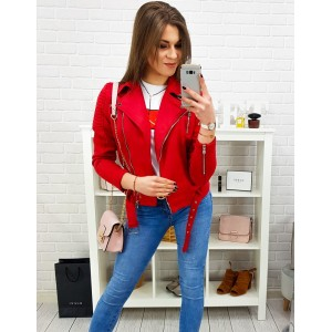 Dámská krátká červená přechodná bunda na zip v motorkářském stylu
