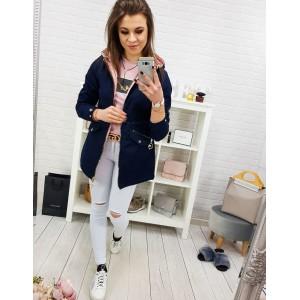 Trendy granátově modrá dámská jarní bunda s odnímatelnou kapucí