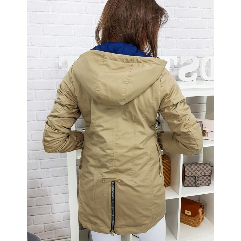 e83fbf48deea Originální dámská jarní bunda v béžové barvě s odnímatelnou kapucí