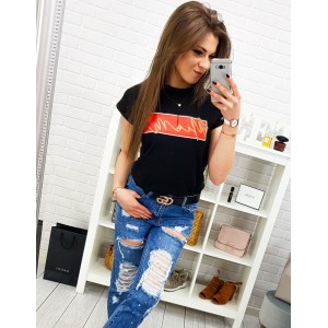 Černé dámské tričko s krátkým rukávem a originálním nápisem MIAMI