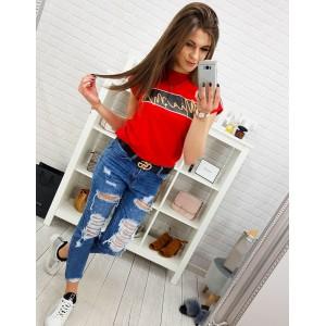 Stylové červené dámské tričko s trendy nápis MIAMI