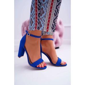 Dámské královsky modré sandály s jemným páskem a tlustém podpatku