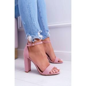 Růžové dámské sandály s plnou patou na podpatku a s řemínkem