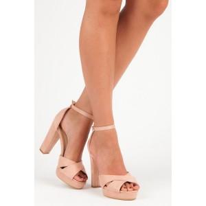 Růžovo pudrové dámské semišové sandály na módním vysokém podpatku