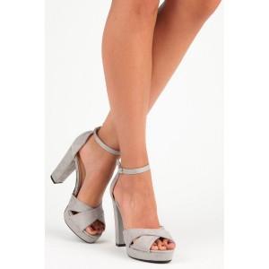 Stylové dámské šedé semišové sandály na plném podpatku