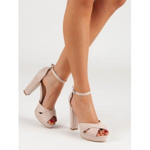 Společenské dámské sandály na vysokém plném podpatku a na řemínek