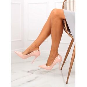 Elegantní dámské lakované růžové lodičky na vysokém úzkém podpatku