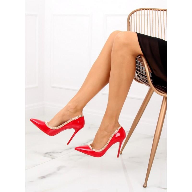 e37f24feb801 Sexy dámské červené lodičky na vysokém podpatku ozdobené cvoky