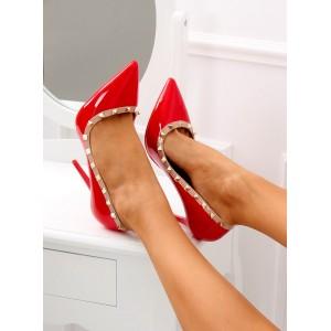 Sexy dámské červené lodičky na vysokém podpatku ozdobené cvoky