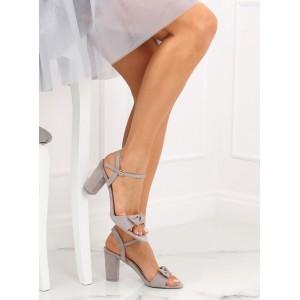 Společenské šedé dámské sandály s mašlí a na módním podpatku