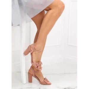 Dámské pudrově růžové sandály na plném podpatku s ozdobnou mašlí