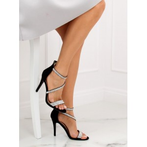 Černé štrasové sandály na vysokém podpatku