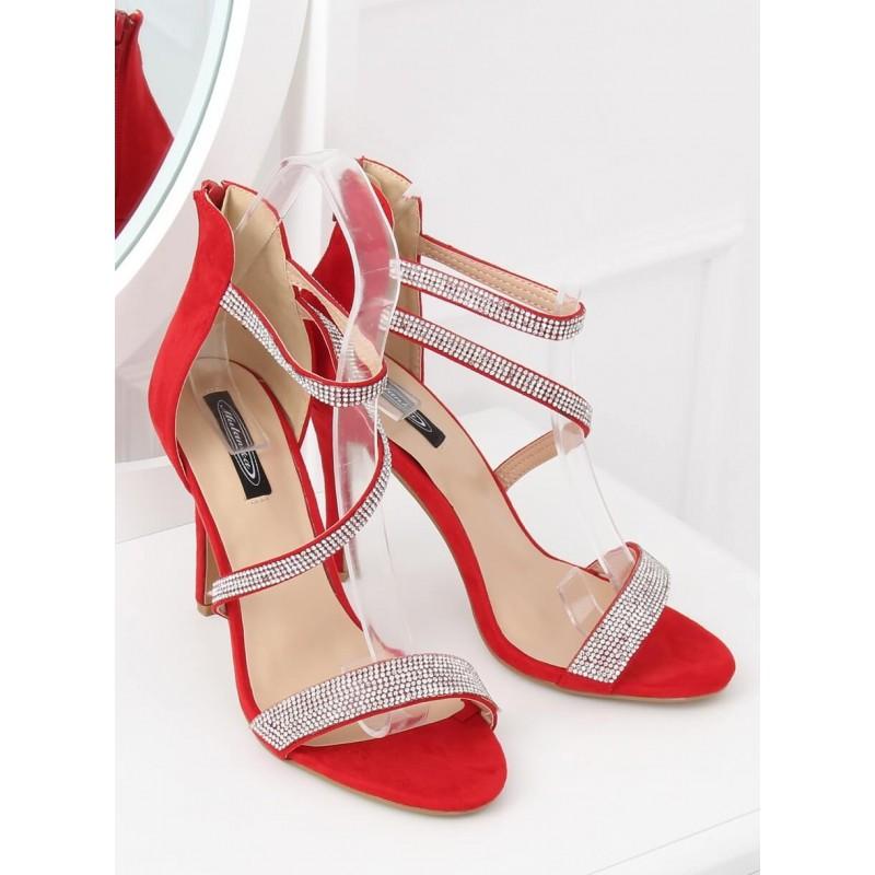 a88b6812ae99 Společenské dámské červené štrasové sandálky se zipem