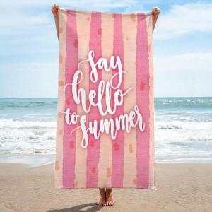Kvalitní ručník na pláž v růžové barvě