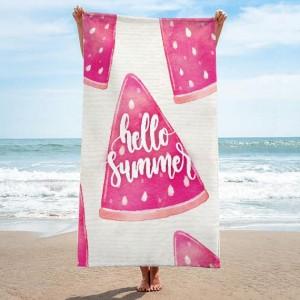 Růžový ručník na pláž s motivem melounů