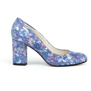 Nádherné modré dámské kožené lodičky s potiskem květů