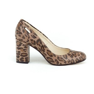 Módní dámské kožené lodičky na podpatku s trendy leopardím vzorem
