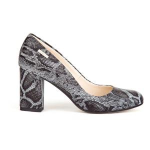 Luxusní černo šedé dámské kožené lodičky s hadím potiskem