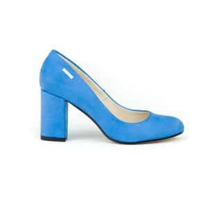 Luxusní dámské kožené safírově modré lodičky na módním podpatku