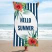 Modro bílý ručník na pláž s nápisem