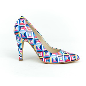Stylové dámské barevné kožené lodičky s potiskem geometrických tvar