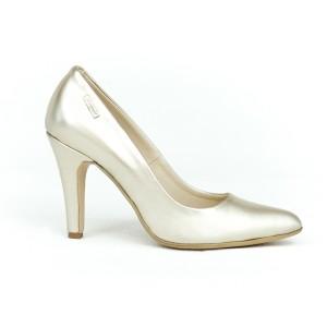 Elegantní dámské kožené lodičky ve zlaté barvě na vysokém podpatku