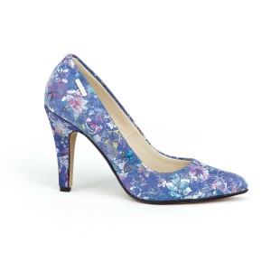 Elegantní dámské kožené lodičky v modré barvě s potiskem květů