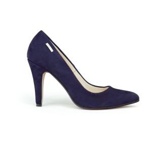 Tmavě modré dámské kožené lodičky na vysokém podpatku