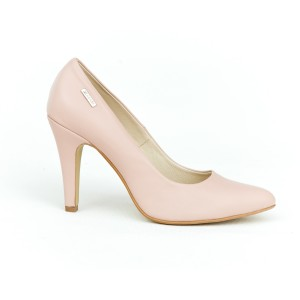 Světle růžové dámské kožené lodičky s ostrou špičkou a podpatkem