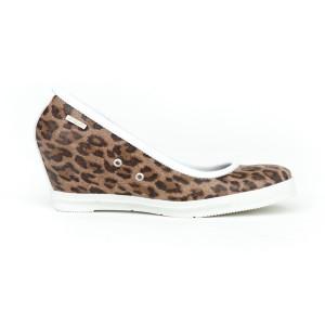 Dámské kožené polobotky na platformě s leopardím vzorem