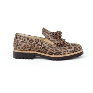 Dámské kožené polobotky s leopardím vzorem nasouvací