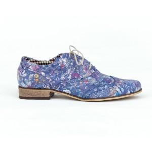 Elegantní dámské modré kožené polobotky jazzovky s květinami