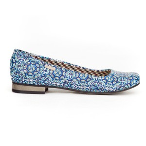 Modré dámské kožené baleríny s mozaikovým designem