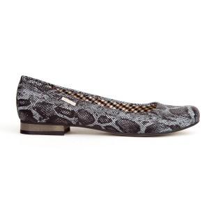 Dámské černé kožené balerínky s hadím motivem