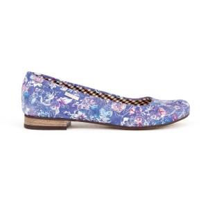 Krásné kožené dámské balerínky fialově modré s potiskem květů