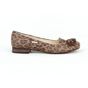 Stylové dámské kožené balerínky leopardího vzoru a ozdobným střapcem