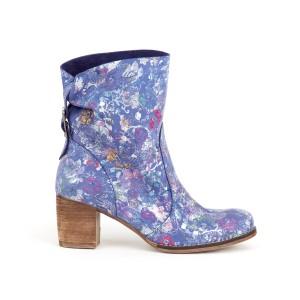 Krásné dámské kožené modré kotníkové boty s motivem květů