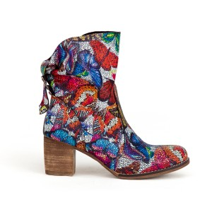 Stylové dámské kožené boty na podpatku s mozaikovým vzorem motýlů