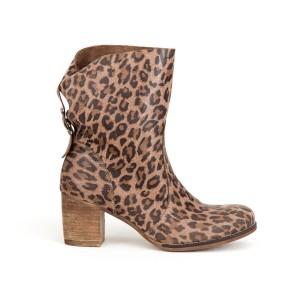 Dámské kožené leopardí boty na módním podpatku a zadní přezkou